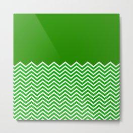 Solid Green Chevron Metal Print