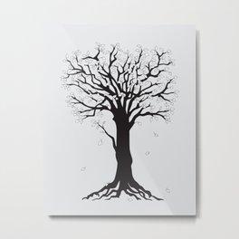silver tree on the gray Metal Print