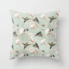 Vintage Watercolor hummingbird and Magnolia Flowers on mint Background Throw Pillow