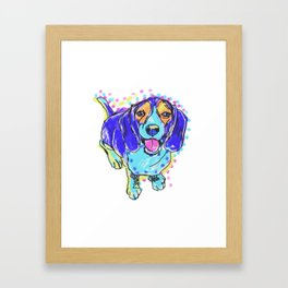 The happy BEAGLE Love of My Life -  your pooch keeps you smiling! Framed Art Print