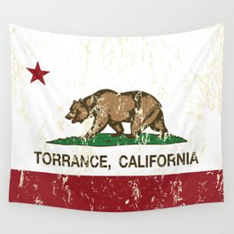 Torrance California Republic Flag Distressed Wall Tapestry