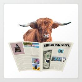 Highland Cow Newspaper Breaking News - Journalist Art Print