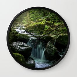 Flowing Creek, Green Mossy Rocks, Forest Nature Photography Wall Clock