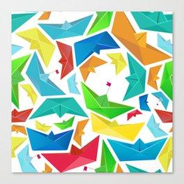 Origami boats multicolour seamless pattern Canvas Print