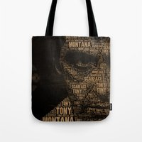 scarface Tote Bags featuring Scarface by Diego Tirigall
