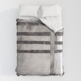 Venetian Blinds in Charcoal, monochrome abstract collage with stripes, black and white, soot, smoky modern art Comforters