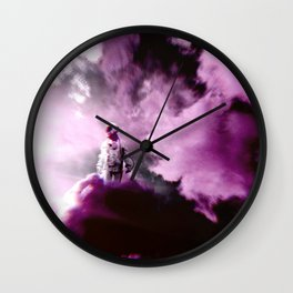 Astronaut in the Clouds-Purple Wall Clock