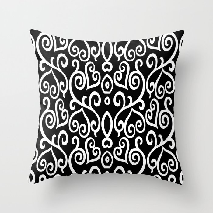 Black and White Abstract Heart Pattern Throw Pillow