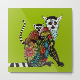 ring tailed lemur love lime Metal Print