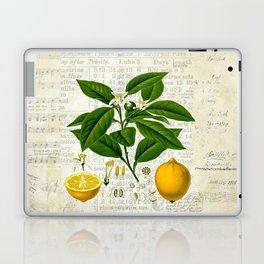 Lemon Botanical print on antique almanac collage Laptop & iPad Skin