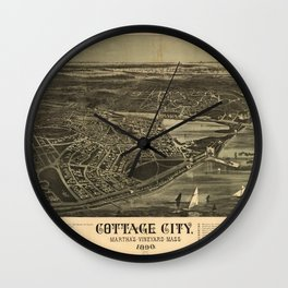 Aerial View of Cottage City (Oak Bluffs), Massachusetts (1890) Wall Clock
