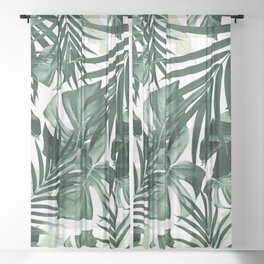 Tropical Jungle Leaves Pattern #4 #tropical #decor #art #society6 Sheer Curtain