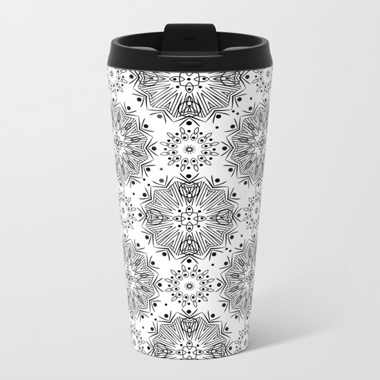 Black and white abstract pattern . 15 Metal Travel Mug