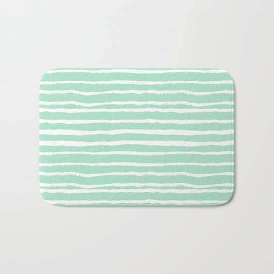 Mint stripes painted stripe pattern minimal nursery gender neutral Bath Mat