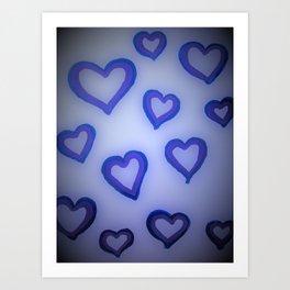 Blue Glow Hearts Art Print