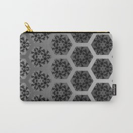 Black and Silver Honeycomb Illusion Graphic Design Pattern Carry-All Pouch