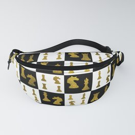 Chessboard and Gold Chess Pieces pattern Fanny Pack