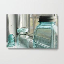 Blue Masons In The Window Metal Print