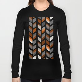 Modern Rectangle Print with Retro Abstract Leaf Pattern Long Sleeve T-shirt