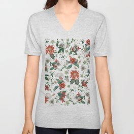 Festive Red Green Botanical Poinsettia Cactus Floral Pattern Unisex V-Neck