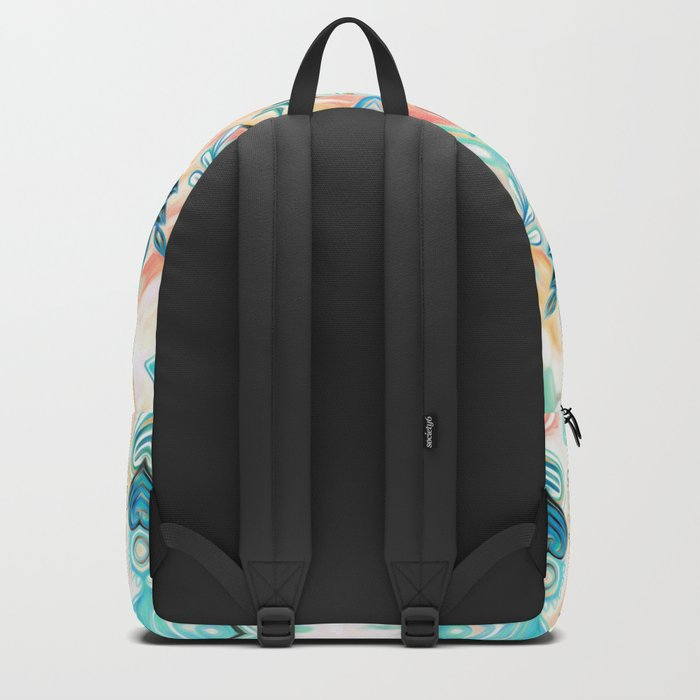 Abstract Painted Boho Pattern in Cyan & Teal Backpack