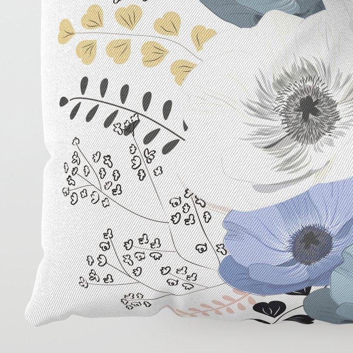 Anemones bouquet pink pastel Floor Pillow