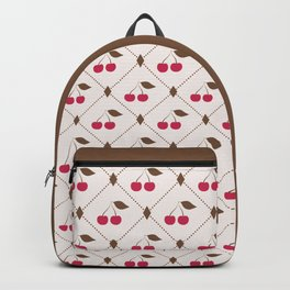 Seamless pattern with cherries and polka dot rhombus Backpack