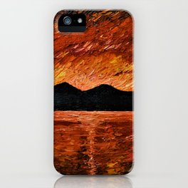 FIERY SUNSET AT MURLOUGH - Oil  Painting iPhone Case
