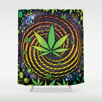 weed Shower Curtains featuring Weed Vortex by Prism Code