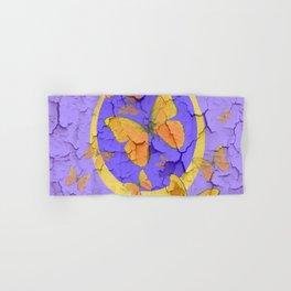OLD YELLOW BUTTERFLIES &  LILAC WALLPAPER MODERN ART  f Hand & Bath Towel
