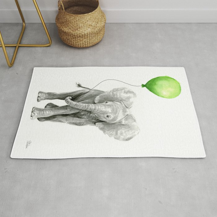 Baby Elephant With Green Balloon Rug By