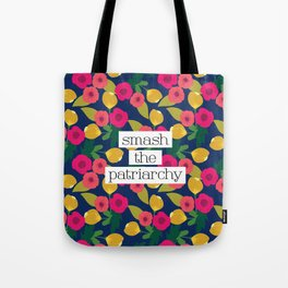 Smash the Patriarchy Floral Tote Bag