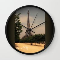 1984 Wall Clocks featuring Paris 1984 by Rolfsson