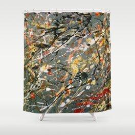 Jackson Pollock Interpretation Acrylics On Canvas Splash Drip Action Painting Shower Curtain