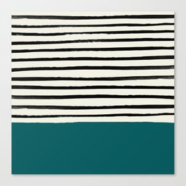 Dark Turquoise & Stripes Canvas Print