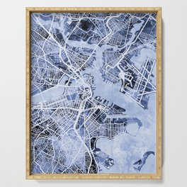 Boston Massachusetts Street Map Serving Tray