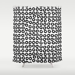 Inky Black Circles Shower Curtain