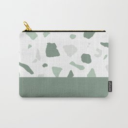 abstract terrazzo stone memphis pattern with colourblocking sage Carry-All Pouch