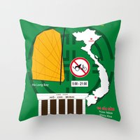 vietnam Throw Pillows featuring Vietnam Hanoi by CHR Design Posters