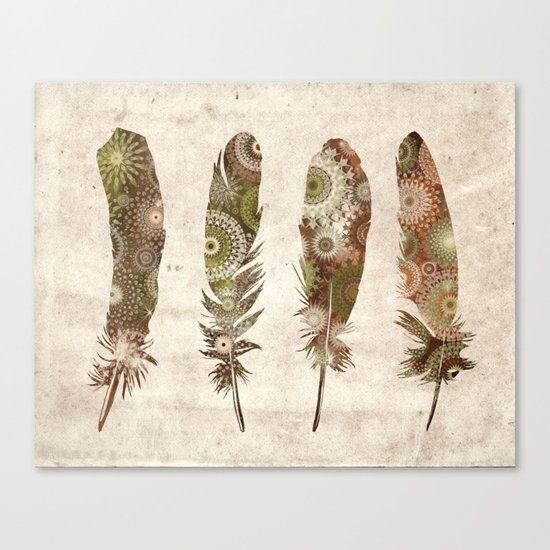 vintage mandala feathers Canvas Print