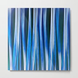 Harmony and Peace Blue Striped Abstract Pattern Metal Print
