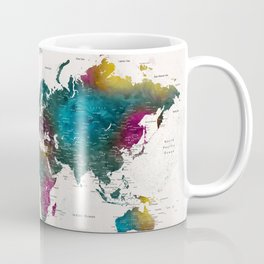 Watercolor world map with cities, Charleena Coffee Mug