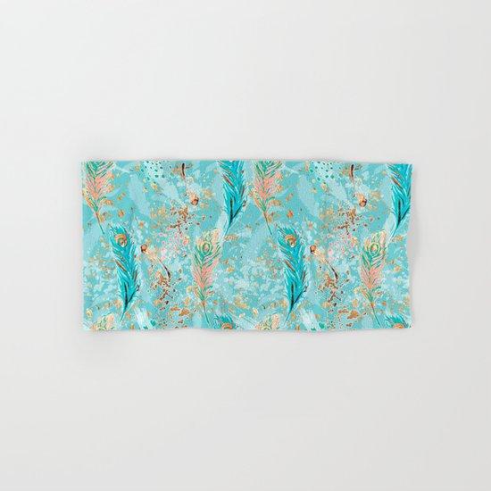 Feather peacock peach mint #8 Hand & Bath Towel