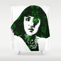 fringe Shower Curtains featuring fringe by fashionistheonlycure