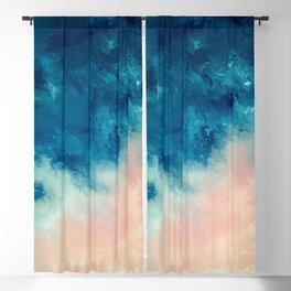 Where the Sky Meets the Sea Blue and Pink Abstract Blackout Curtain