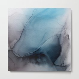Modern Aqua and Gray Ink Wash Abstract Metal Print