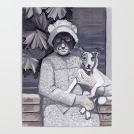 An Old Lady and Her Little Dog in Gouache Poster