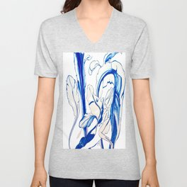 Plant in Blue Marker - Leaf of Life Miracle Leaf - Original Blue Unisex V-Neck