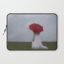 Bride with red umbrella Laptop Sleeve
