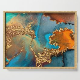 Abstract Blue And Gold Autumn Marble Serving Tray